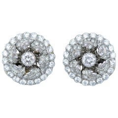 Buccellati Platinum Diamond Leaf Circle Clip-On Earrings