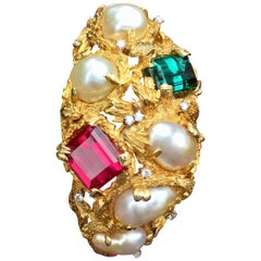 Heavy 18 Karat Gold Baroque Pearl Gemstone Diamond Cuff Bangle Bracelet