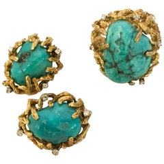 Turquoise 14 Karat Gold Diamond Ring Clip Earrings Set by Cecil Vintage