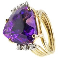 Heart Shape Amethyst Diamond Gold Ring