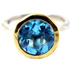 Round Faceted Blue Topaz 18 Karat Yellow Gold and Sterling Silver Ring