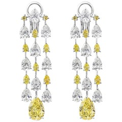 Yellow and White Pear Shaped Diamond Platinum Chandelier Earrings
