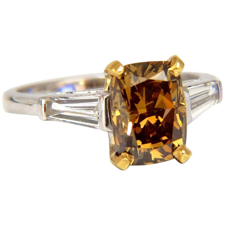GIA Certified 2.59 Carat Fancy Yellow Brown Diamond Ring Platinum For Sale