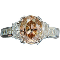 GIA 4.82 Carat Natural Fancy Orange Brown Color Diamond Ring Excellent