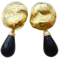 Michael Kneebone Black Onyx 18 Karat Jingle Dangle Earrings