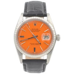 Rolex Stainless Steel Datejust Orange Dial Automatic Wristwatch Ref 1603, 1964