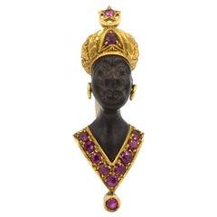 Nardi 18 Karat Gold and Ruby Ebony Blackamoor Vintage Brooch Clip