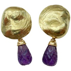 Michael Kneebone 18 Karat Yellow Gold Amethyst Jingle Dangle Earrings