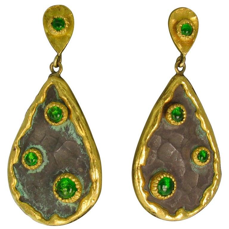 Victor Velyan Chrome Diopside Earrings For