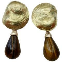 Michael Kneebone Tiger's Eye 18 Karat Yellow Gold Jingle Dangle Earrings