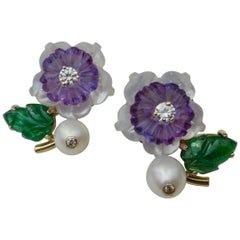 Michael Kneebone Tsavorite Garnet Amethyst Diamond Pearl Flower Earrings