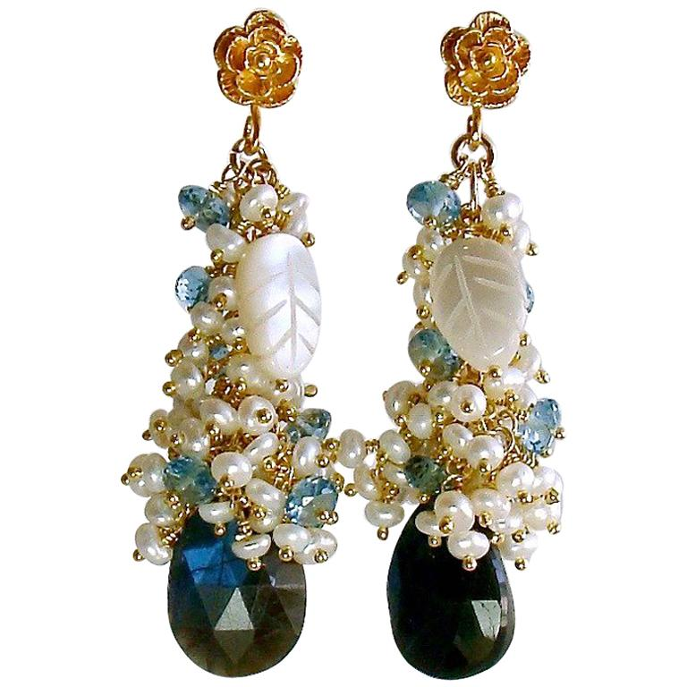 Labradorite Seed Pearls London Blue Topaz Cluster Earrings