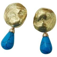 Michael Kneebone Turquoise 18 Karat Yellow Gold Jingle Dangle Earrings