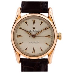 Rolex Rose Gold Bombe self winding wristwatch Ref 6090, circa 1950s