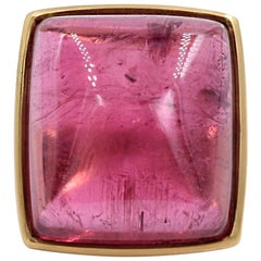 Lucas Priolo 54.87 Carat Cabochon Pink Tourmaline Gold Cocktail Ring