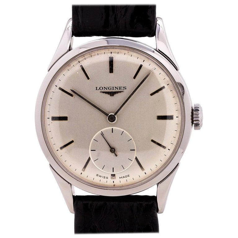 Longines Stainless Steel Midcentury Design manual wind wristwatch, circa 1956