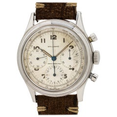 Welsbro Stainless Steel Chronograph Venus 175 manual wind wristwatch, c 1950s