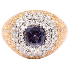 Carl Priolo 1.75 Carat Blue Spinel and White Diamond Cocktail Ring 18 Karat Gold