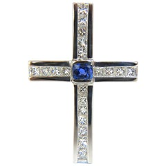 GIA 6.77 Carat No Heat Sapphire Diamonds Heavy Platinum Men's Cross Pendant
