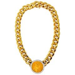 1908 Liberty Fine Gold Coin 2.00 Carat Diamonds Cuban Link Necklace Huge