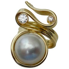 Michael Kneebone Paspaley South Seas Pearl Diamond Ribbon Candy Ring