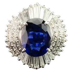 5.63 Carat Blue Sapphire and Diamond Cocktail Ring