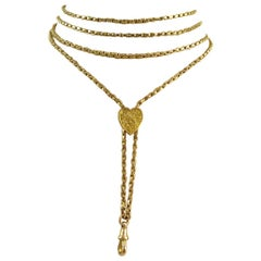Victorian Antique Gold Long Chain, Heart Shaped Engraved Slider, Yellow Gold