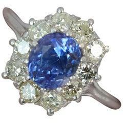 Certified 2.03ct No Heat Colour Change Ceylon Sapphire Diamond & Platinum Ring