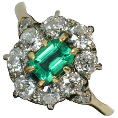 Victorian Old Cut Diamond and Emerald 18 Carat Gold Cluster Ring