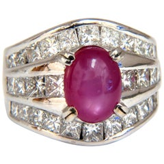 GIA 6.32 Carat Natural No Heat Star Ruby Diamond Ring Platinum Knuckle Buckle