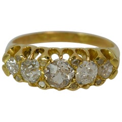 Victorian 18 Carat Gold 1.25 Carat Old Cut Diamond Five-Stone Stack Ring