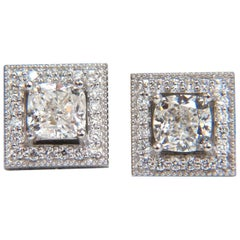 GIA Certified 1.00ct & 1.01ct Square Halo Cushion cut diamond stud earrings 14k
