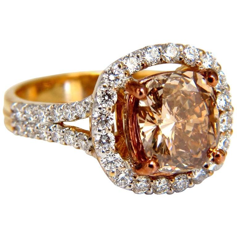 GIA Certified 2.99 Carat Fancy Brown Yellow Diamond Ring Halo Cluster 18 Karat For Sale