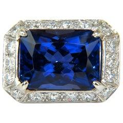 GIA 15.06 Carat 18 Karat Natural Tanzanite Diamond Ring A+ D-Block Color