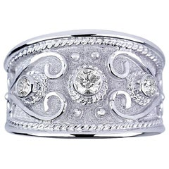 Georgios Collections 18 Karat White Gold Byzantine Ring with 0.60 Carat Diamonds