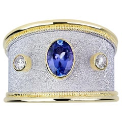 Georgios Collections 18 Karat White and Yellow Gold Diamond Ring With Tanzanite