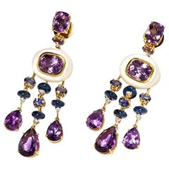 Amethyst and Sapphire Tube Hanger Earrings in 18 Karat Gold