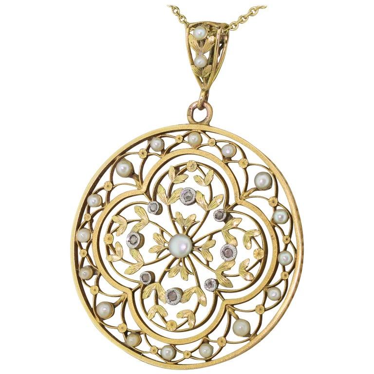 Art Nouveau Natural Seed Pearl and Rose Cut Diamond Pendant