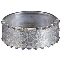 Antique Victorian Engraved Bangle Sterling Silver, circa 1900