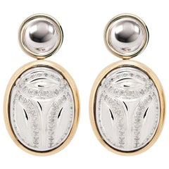 Scarab Earrings with Diamonds