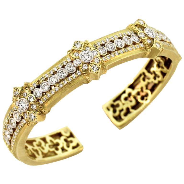 Stambolian Yellow Gold and Diamond Bangle Bracelet