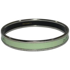 Hermes Horse and Carriage Enamel Bangle in Plain Light Green with Palladium Trim