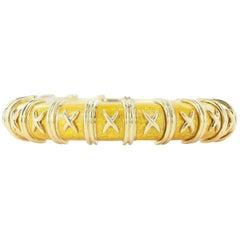 Schlumberger Slim Golden Enamel Croisillon Bangle