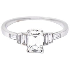 1950's 1.21 CTW Emerald Cut Diamond Platinum Alternative Engagement Ring GIA