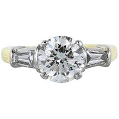 1.85 Carat H/SI1 Round Brilliant Diamond Three-Stone Ring