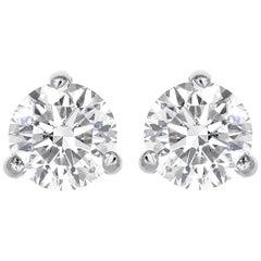 0.64 Total Carat Weight Round Brilliant Cut Diamond Stud Earrings