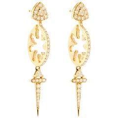 18 Karat Rose Gold Sword Hoop Earrings