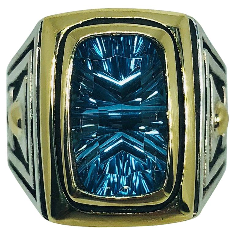 John Atencio 18 Karat Sterling Blue Topaz Cocktail Ring For Sale