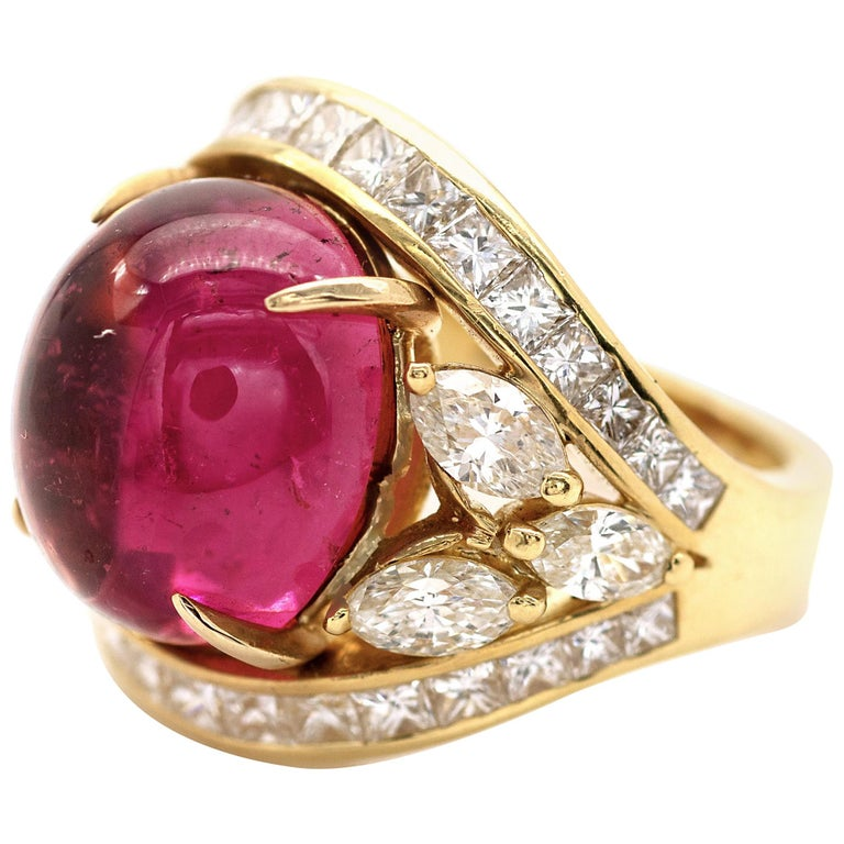 Pink Tourmaline and Diamond Cocktail Ring
