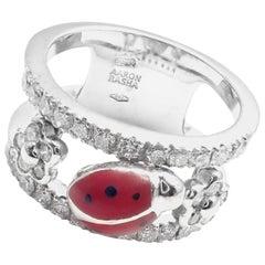 Aaron Basha Diamond Red Enamel Ladybug White Gold Band Ring